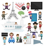 Travel and Profession Lifestyle People Vectors stock illustration
