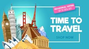 Travel promo banner design for travel agency. Vector illustration royalty free illustration