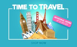 Travel promo banner with discount. Time to travel inspirational promo poster. Vector illustration royalty free illustration