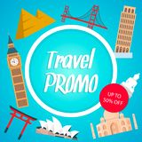 Travel Promo, Discount Coupon Layout with Text stock illustration