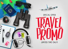 Travel Promo Text Gradient Mesh Background Special Offer Top View with Realistic 3D Traveling Item stock illustration