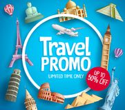 Travel promo vector banner promotion design with tourist destinations. Elements and discount text in blue background for travel agency template. Vector stock illustration