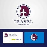 Travel Qatar Creative Circle flag Logo and Business card design. This Vector EPS 10 illustration is best for print media, web design, application design user vector illustration