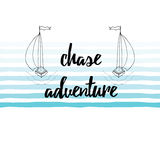 Travel Quote. Chase adventure on the blue waves background decorated hand drawn sailing vessel. Royalty Free Stock Photography