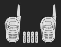 Travel radio set devices wit batteries. Chalk. Two travel portable mobile vector radio set devices wit 4 accumulator batteries. Chalkboard illustration  on black Stock Photo