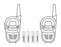 Travel radio set devices wit batteries. Contour. Two travel black portable mobile vector radio set devices wit 4 accumulator batteries. Contour lines Stock Images