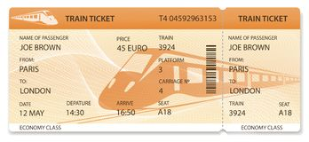 Vector Train ticket, Rail pass design, traveler check template / layout with train on orange background stock illustration