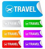 Travel, rectangular stickers Royalty Free Stock Photography