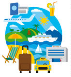 Travel and resort. Concept flat illustration, sea lounge and journey Stock Photos