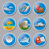 Travel and resort icons. Set of travel and resort icons and buttons Royalty Free Stock Photos