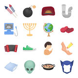 Travel, rest, hygiene and other web icon in cartoon style.amlet, mask, superman icons in set collection. Travel, rest, hygiene and other  icon in cartoon style Royalty Free Stock Photo