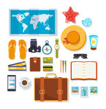 Travel, rest on the sea, objects necessary on a trip. royalty free illustration