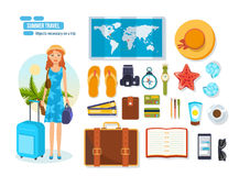Travel, rest on sea, objects necessary on trip and brought. Stock Images