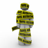 Travel Restrictions Man Wrapped Yellow Tape Danger Warning Royalty Free Stock Photo