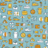Travel retro line icons vector seamless pattern. Vintage classic colors background. Illustration for web and mobile Royalty Free Stock Photography