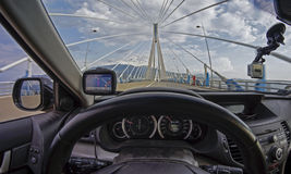 Travel through the cable bridge, seen from inside the car. royalty free stock photo