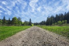 Travel road on the field with green grass and blue sky with clouds on the farm in beautiful summer sunny day. Clean, idyllic, lan royalty free stock photography