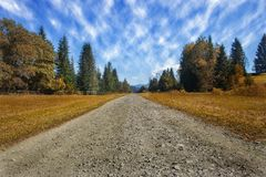 Free Travel Road On The Field With Yellow Autumn Grass And Blue Sky With Clouds On The Farm In Beautiful Summer Sunny Day. Clean, Idyll Royalty Free Stock Photography - 130698937