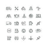 Travel, road traffic and location vector line icons Royalty Free Stock Images