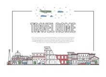 Travel Rome poster in linear style. Travel Rome poster with famous architectural attractions in linear style. Worldwide traveling and time to travel concept Stock Photos