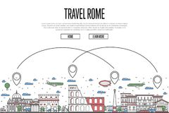 Travel Rome poster in linear style. Travel Rome poster with national architectural attractions and air route symbols in trendy linear style. Roman famous Royalty Free Stock Photos