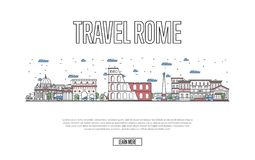 Travel Rome poster in linear style. Travel Rome poster with architectural attractions in linear style. Worldwide traveling and time to travel concept. Roman Stock Photo
