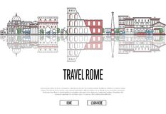 Travel Rome poster in linear style. Travel Rome poster with national architectural attractions in trendy linear style. Roman famous landmarks and traditional Stock Image