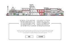 Travel Rome poster in linear style. Travel Rome vector composition with famous architectural landmarks in linear style. Worldwide traveling and time to travel Stock Photo