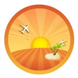 Travel Round Icons with the Landscape. Vector Royalty Free Stock Images