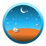 Travel Round Icons with the Landscape. Vector Stock Images