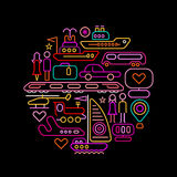 Travel round shape neon colors illustration Stock Photography
