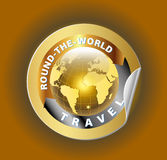 Travel Round the World Symbol with Golden Globe Symbol Label Royalty Free Stock Photo