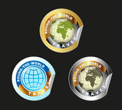 Travel Round The World Vector Set. World Travel Round Globe Label Vector Royalty Free Stock Images