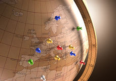 Travel Route. Antique globe with nails marking the travel route Stock Image