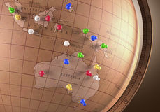 Travel Route. Antique globe with nails marking the travel route Stock Photo