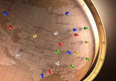 Travel Route. Antique globe with nails marking the travel route Stock Photography