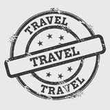 Travel rubber stamp isolated on white background. Grunge round seal with text, ink texture and splatter and blots, vector illustration Stock Photo