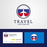 Travel Russia Creative Circle flag Logo and Business card design. This Vector EPS 10 illustration is best for print media, web design, application design user stock illustration