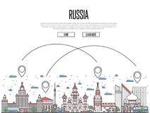 Travel Russia poster in linear style. Travel Russia poster with national architectural attractions and air route symbols in trendy linear style. Moscow famous Royalty Free Stock Images