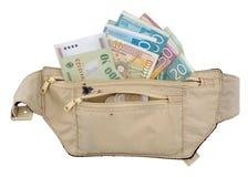 Travel Safety 3. Money in travel belt bag money belt stock image