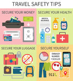 Travel safety tips. Safe travel tips. Safety rules during your journey about health, luggage, money and behaviour. Vector illustration Stock Image
