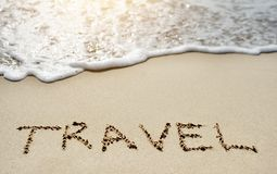 Travel on sandy beach near sea Royalty Free Stock Photography