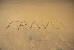 Travel on sandy beach near sea Stock Photos