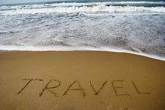 Travel on sandy beach near sea Stock Photography