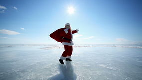 Travel Santa on Lake Baikal stock footage