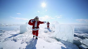 Travel Santa on Lake Baikal, Looping stock video footage