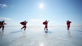 Travel Santa on Lake Baikal, Looping. Christmas holidays, Santa Claus walks around the lake Baikal, Siberia, infinity stock footage