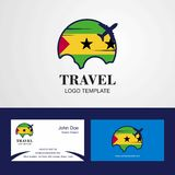 Travel Sao Tome and Principe Flag Logo and Visiting Card Design. This Vector EPS 10 illustration is best for print media, web design, application design user stock illustration