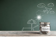Travel savings jar background Royalty Free Stock Images