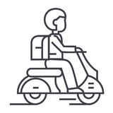 Travel scooter vector line icon, sign, illustration on background, editable strokes Stock Photography